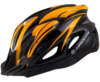 Capacete Absolute Sinalizador Led Ciclismo Bike Nero Laranja