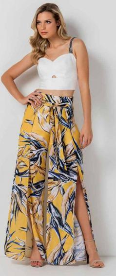 Calça Pantalona Transpassada Estampa Exclusiva Tam P