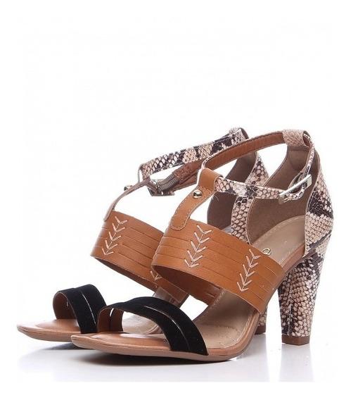 Sandália Dakota Caramelo Preto Textura Cobra