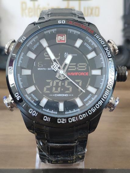 Relógio Original Naviforce 9093 Preto/com Caixa/frete Grátis
