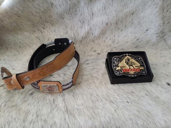 Kit Cinto Country Pbr + Fivela Cowboy Pbr Lançamento + Caixa