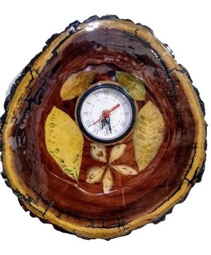 Relógio Parede Madeira Sinamomo Resina  Folhas Flor Natural