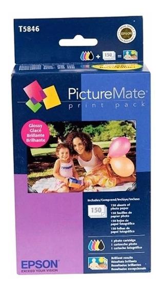 Kit Print Pack T5846 Para 150 Fotos Papel Brilhante 260 G Original Epson Pm225