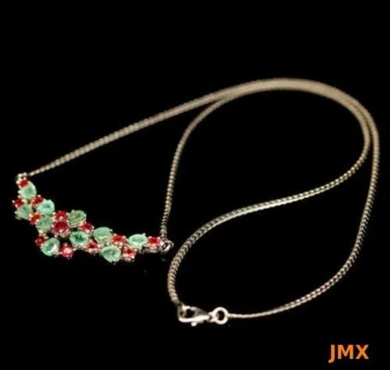 Collar De Esmeraldas Y Zafiros Color Naranja Naturales Mj74