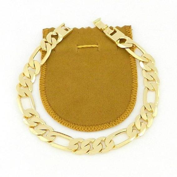 Pulseira Masculina 21cm 1cm Largura Folheado Ouro Pl449