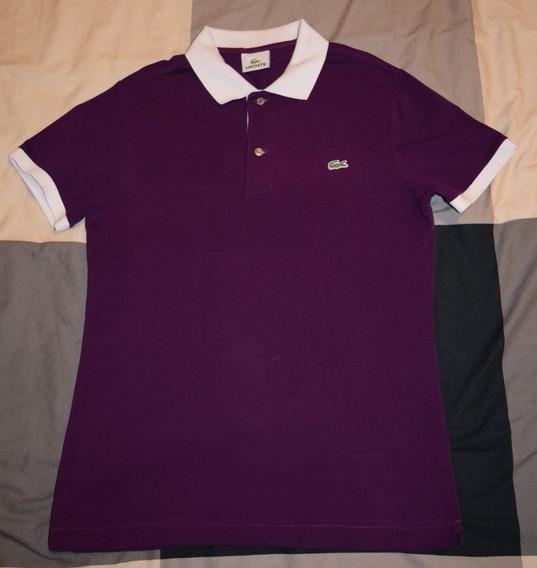 Lacoste Polo - Talla 3 - Púrpura, Cuello Blanco