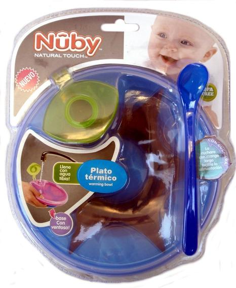 Plato Termico Para Bebe Nuby Con Sopapa Tapa Y Cuchara