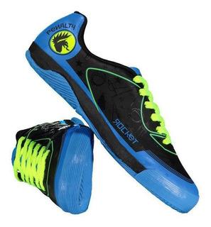Chuteira Penalty Atf Rocket Viii Futsal Juvenil Preta E Azul