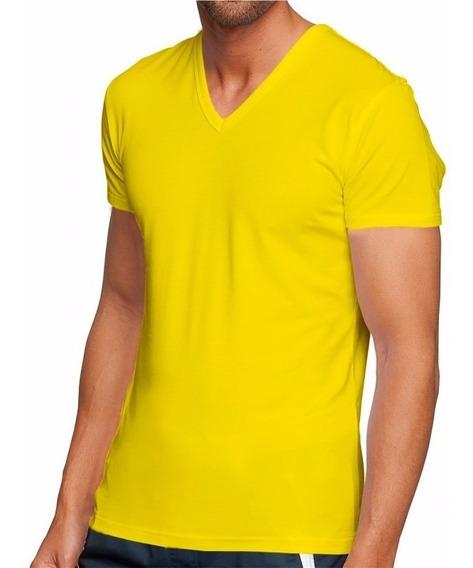 Kit Com 5 Camisetas Masculinas Gola V Blusa Slim Fit