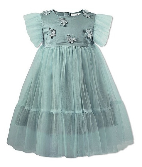Vestido Fiesta Nena Importado Mariposas Talles 3 - 4 - 5
