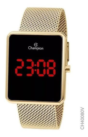 Relógio Digital Feminino Champion Dourado Ch40080v Quadrado
