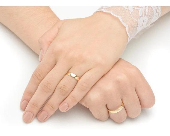 Par Aliança Compromisso Semi-joias Banhada A Ouro 18k