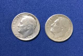 Lote De 2 Monedas De Plata De 10c. Usa , 1959 Y 1960