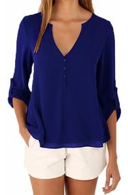 Com 5 Camisa Social Feminina Blusa Lisa Manga Longa #16001
