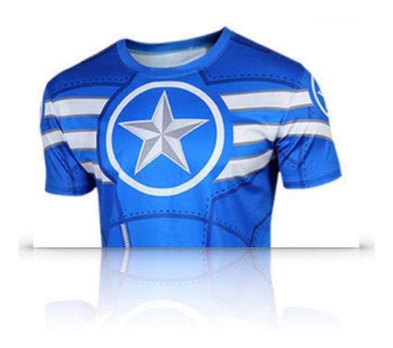 Playera Corta Comics Superheroes Capitan America Hombre Xt C