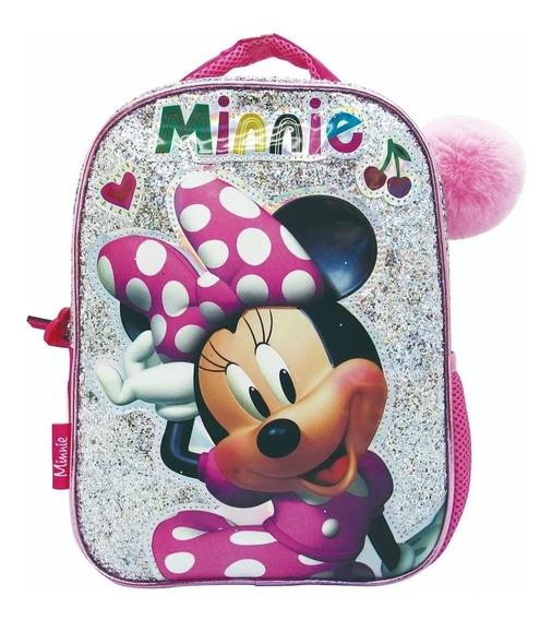Mochila Minnie Disney Original Jardin Gliter 12 Pulg. Km199