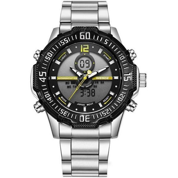 Relógio Masculino Weide Wh-6105 Anadigi Preto/amarelo Com Nf