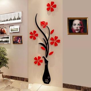 Adhesivo De Pared Estilo Jarrón 3d 80*32cm-negro Y Rojo