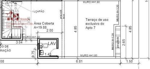 Imagem 1 de 6 de Cobertura Com 2 Dormitórios À Venda, 84 M² Por R$ 301.000 - Vila Tibiriçá - Santo André/sp - Co0928