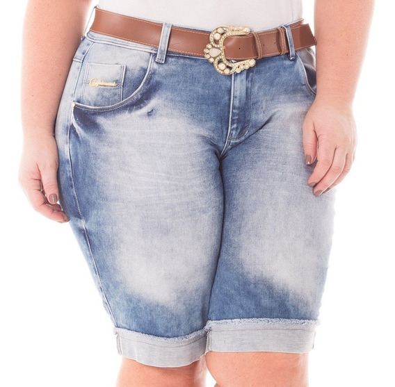 Bermuda Feminina Jeans Barra Desfiada - Plus Size - Bdj135