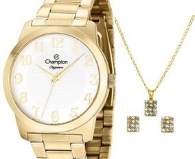 Relógio Champion Feminino Dourado Cn26386w + Kit