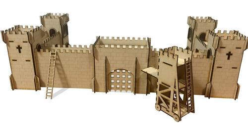 Castillo Fuerte Medieval Fibrofacil Mdf Apto Playmobil Unico
