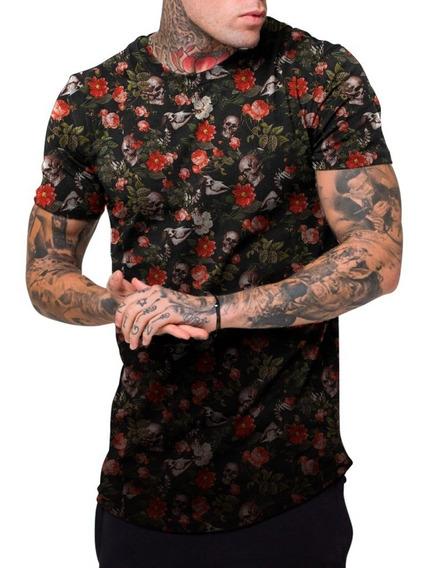 Camiseta Masculina Camisa Longline Floral E Caveiras Top