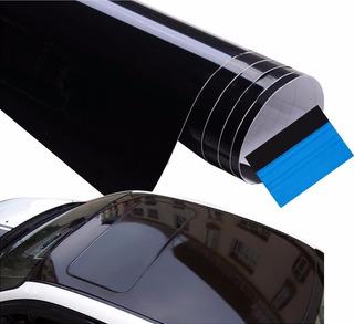 Vinil Negro Brillante 135m X 1m Antiburbujas Con Aplicador