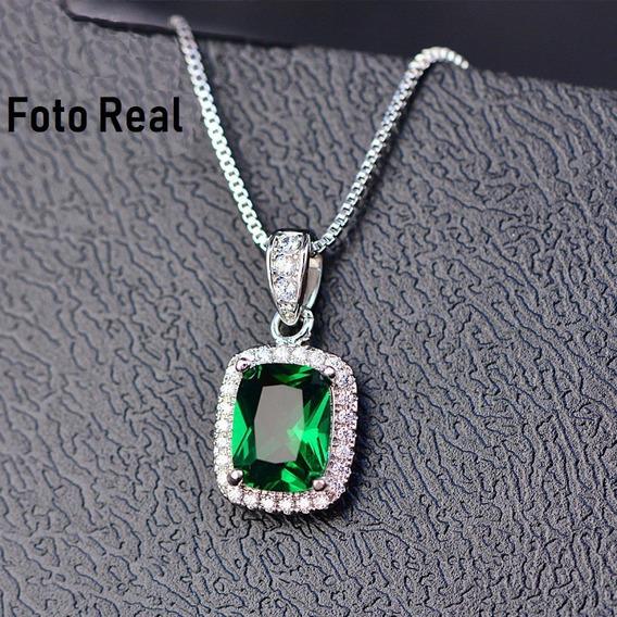 Collar Cuadro Cristal Verde Plata Laminada Gran Calidad