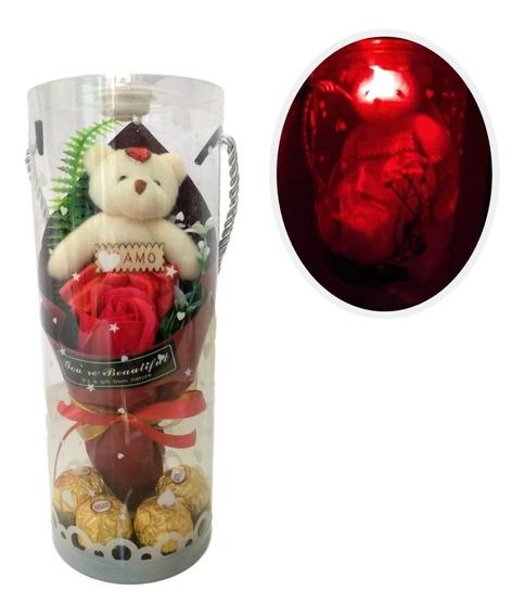 Arreglo Flores Chocolates Osita Peluche Luz Led Rojo Regalo