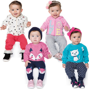 Roupas De Bebê Menina Kit 4 Conjuntos Longo Inverno Love Fox