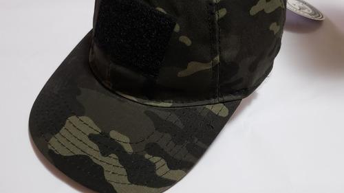 Imagem 1 de 9 de Boné Tático Militar T3 Camo Multicam Black Velcro Ajustável