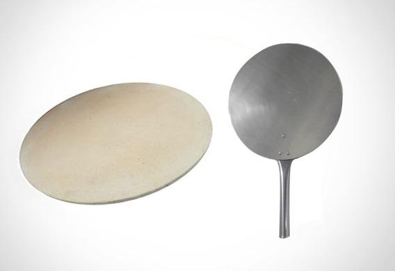 Pedra Refratária Para Pizza Ø 35 Cm + Pá De Alumínio