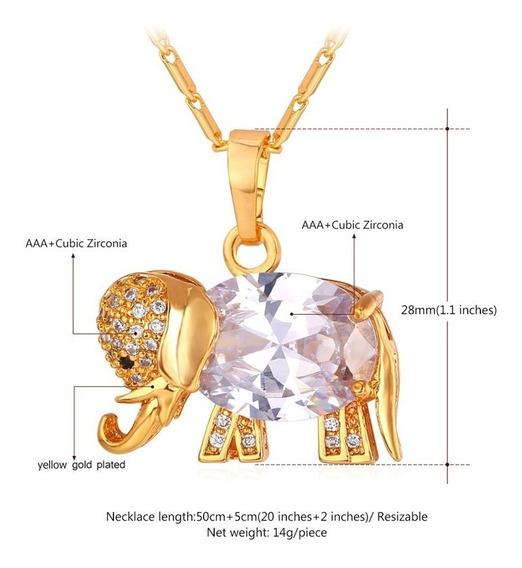 Colar Feminino Elefante Amuleto Sorte Zircônia Luxo C124