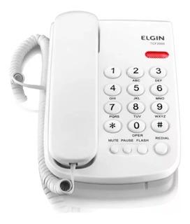 Telefone Fio Branco Mesa Ou Parede Elgin Tcf 2000