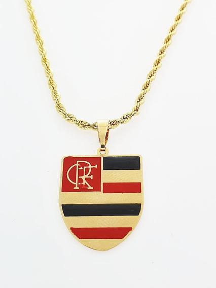 Pingente Flamengo + Corrente Cordão Banhado Ouro. C7p772