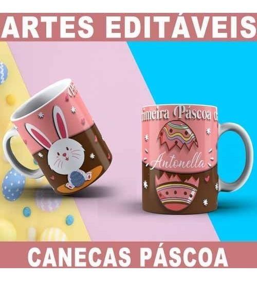 Canecas Artes Editáveis Corel Páscoa Mockups