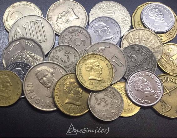 Onesmile:) Lote De 23 Monedas De Uruguay