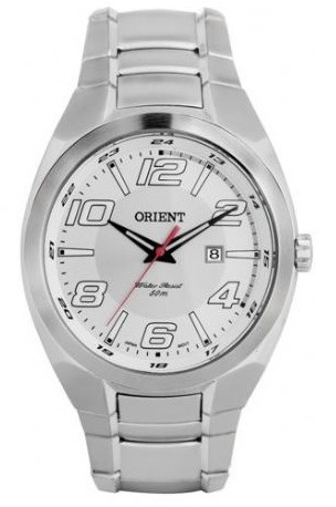 Relógio Orient Masculino Prata Com Calendário, Visor Branco