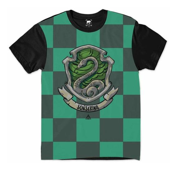 Camiseta Harry Potter Sonserina Hogwarts Relíquias Morte