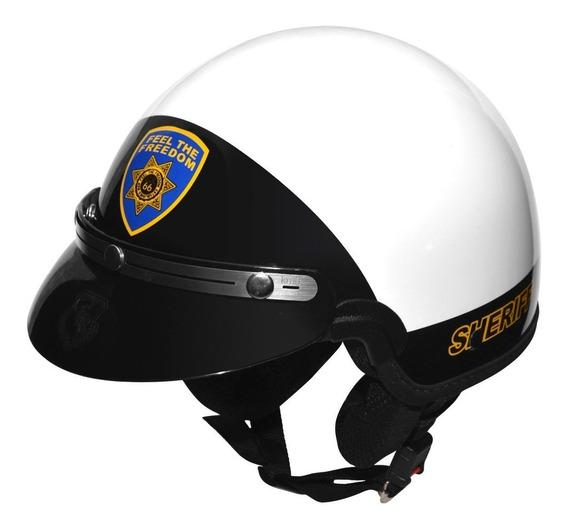 Capacete Kraft Custom Sheriff Branco Chips G 58 - Harley