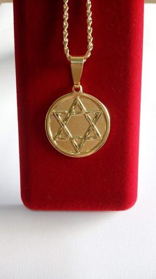 Corrente Grossa Com Estrela De Davi Banhado A Ouro 18k