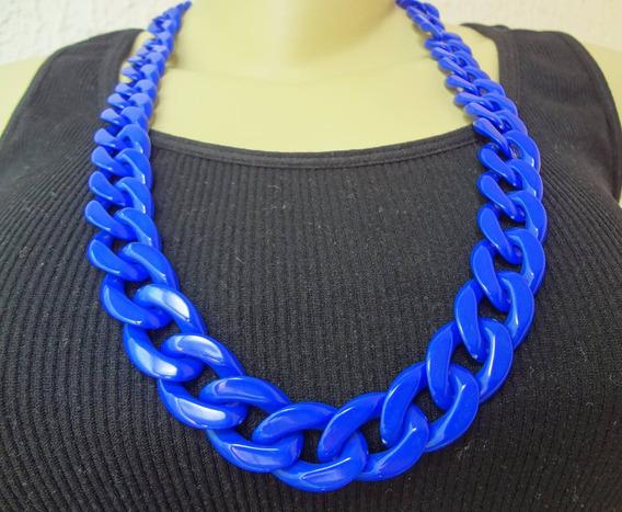 Colar Feminino Corrente Grossa Azul Bj 2