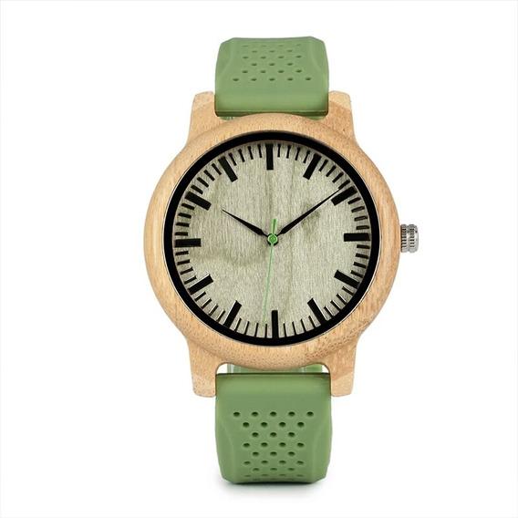 Relógio Feminino Madeira Analógico Bobo Brid B06 Verde
