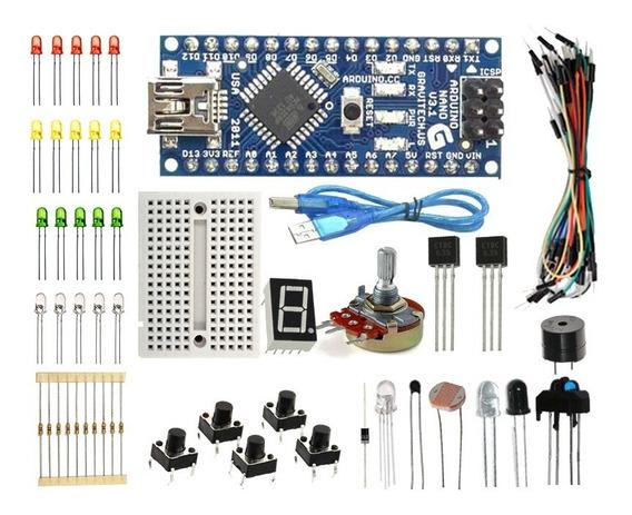 Kit Básico Arduino Nano Automação Sensores + Protoboard Nfe