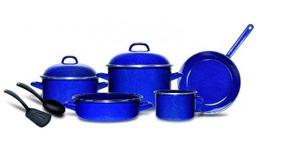 Batería Cinsa De Peltre Azul 9 Piezas Incluye Envío