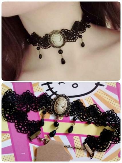 Choker Collar Camafeo Gothic Harajuku Kawaii Moda Asiatica
