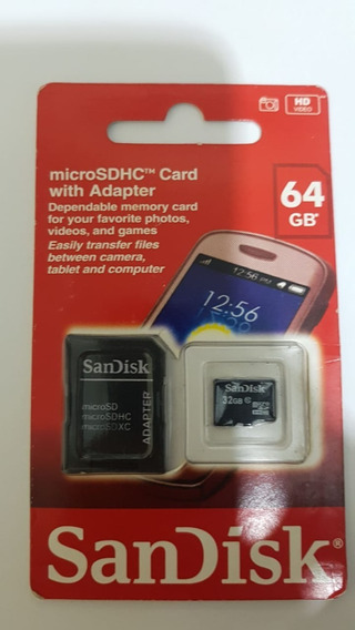 Cartão De Memória Micro Sd 64gb Sandisk Classe 4 + Adaptador