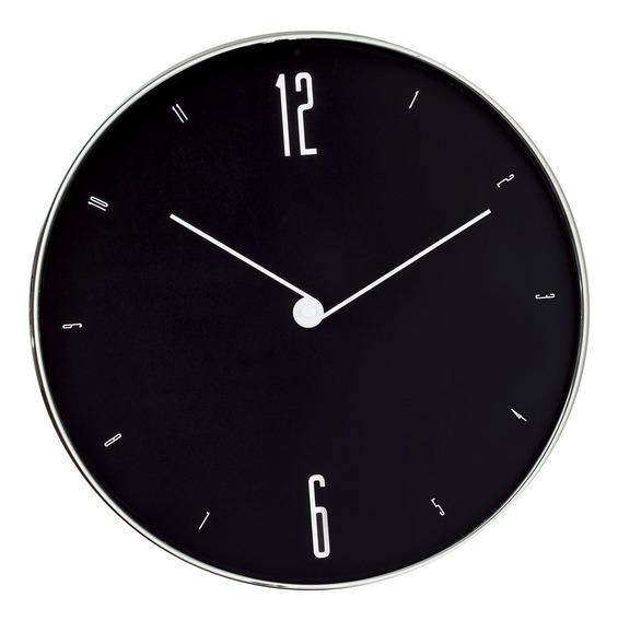Relógio De Parede Preto E Prata 30cm