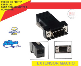 Adaptador Extensor Vga Cabo De Rede Rj45 Macho